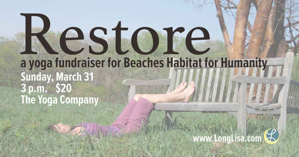 woman wearing purple lying in grass with legs on a bench in a restorative yoga pose title=