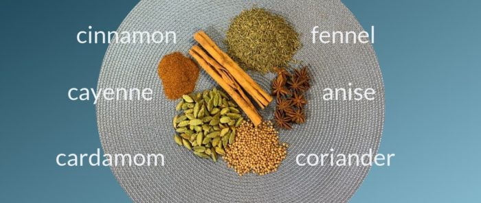 chai spices with names of each spice on a blue place mat